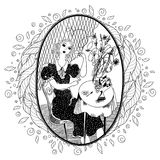 Pattern for coloring book for adult. Vintage girl drinking coffe Royalty Free Stock Photography