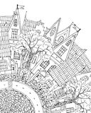Pattern for coloring book with artistically house Magic Royalty Free Stock Photo