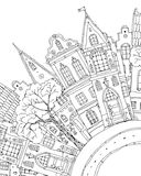 Pattern for coloring book with artistically house Magic Royalty Free Stock Photos