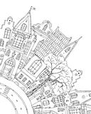 Pattern for coloring book with artistically house Magic Royalty Free Stock Images