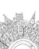 Pattern for coloring book with artistically house Magic Stock Photo