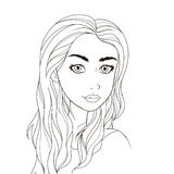 Pattern for coloring book. Beautiful girl. Stock Photo