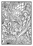 Pattern for coloring book. Black and white background with floral, ethnic, hand drawn elements for design. Stock Images