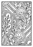 Pattern for coloring book. Black and white background with floral, ethnic, hand drawn elements for design. Royalty Free Stock Images