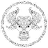 Pattern for coloring book. Bull. Royalty Free Stock Photo