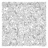 Pattern for coloring book. Christmas hand-drawn decorative eleme Stock Images