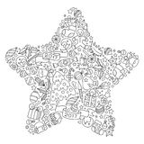 Pattern for coloring book. Christmas hand-drawn decorative elements in vector. Christmas star from Christmas decorative elements. Black and white pattern Royalty Free Stock Photo