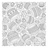 Pattern for coloring book with cups . Doodle, pattern, coffee or tea time.  Ethnic, floral, retro, doodle, , tribal design element. Black and white Royalty Free Stock Photography