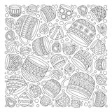 Pattern for coloring book with cups . Doodle, pattern, coffee or tea time.  Ethnic, floral, retro, doodle, vector, tribal design element. Black and white Stock Photography