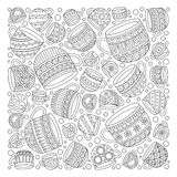 Pattern for coloring book with cups . Doodle, pattern, coffee or tea time.  Ethnic, floral, retro, doodle, vector, tribal design element. Black and white Royalty Free Stock Photos
