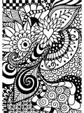 Pattern for coloring book. Ethnic, floral, retro, doodle, , tribal design element. Black and white background. Stock Images