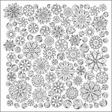 Pattern for coloring book. Ethnic, floral, retro, doodle, vector Royalty Free Stock Images