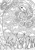 Pattern for coloring book. Ethnic retro design Stock Photography