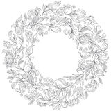 Pattern for coloring book. Floral, doodle, vector, wreath Stock Images