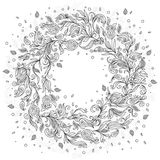 Pattern for coloring book. Floral, doodle, vector, wreath Stock Image