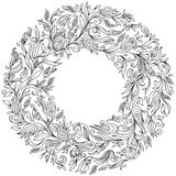 Pattern for coloring book. Floral, doodle, vector, wreath Stock Photo