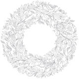 Pattern for coloring book. Floral, doodle, vector, wreath Stock Photography