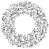 Pattern for coloring book. Floral, doodle, , wreath Stock Image