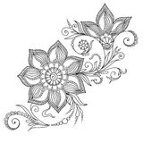 Pattern for coloring book. Floral elements in indian style. Royalty Free Stock Photo