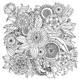Pattern for coloring book. Floral pattern for coloring book. Retro, doodle, vector, design element. Black and white background. zentangle royalty free illustration