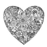 Pattern for coloring book. Heart-shaped pattern for coloring book. Floral, retro, doodle, vector,  design element. Black and white  background. zentangle Stock Photography