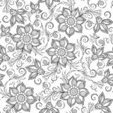 Pattern for coloring book. Henna Mehendy Tattoo Doodles Seamless Royalty Free Stock Photos