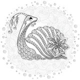 Pattern for coloring book. Illustration of a snail. Stock Photo