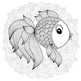 Pattern for coloring book. Vector Cute Cartoon Fish. Royalty Free Stock Image