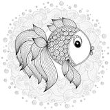 Pattern for coloring book. Vector Cute Cartoon Fish. Stock Photo