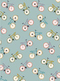Pattern coloured bicycles vintage green background, vector. Illustration Stock Images