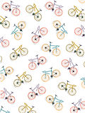 Pattern coloured bicycles, white background, vector. Illustration Stock Image