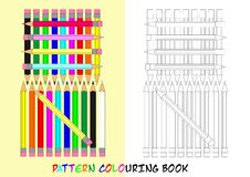 Pattern colouring book - cdr format. Pattern colouring book for children with color pencils stock illustration