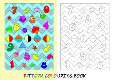 Pattern colouring book - cdr format. Pattern colouring book for children with numbers from 0 to 9 stock illustration