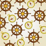 Pattern of compasses and rudders Stock Photography