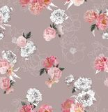 Pattern composition consisting of hand-drawn and photo peonies on a beige background Royalty Free Stock Photography
