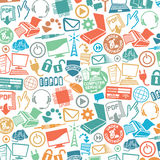 Pattern with computer and communication icons Stock Image