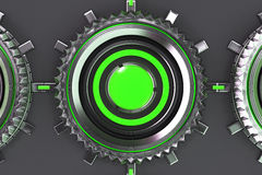 Pattern of concentric metal shapes with green elements. Circular objects connected in grid on grey background. Abstract futuristic background. 3D rendering Royalty Free Stock Photo