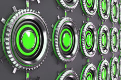 Pattern of concentric metal shapes with green elements. Circular objects connected in grid on grey background. Abstract futuristic background. 3D rendering Stock Photos