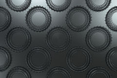 Pattern of concentric shapes made of rings and spirals on black. Background. Abstract geometric background with grid of concentric elements. 3D rendering Stock Photo
