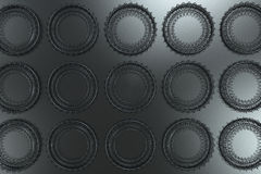 Pattern of concentric shapes made of rings and spirals on black. Background. Abstract geometric background with grid of concentric elements. 3D rendering Royalty Free Stock Photos