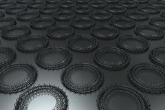 Pattern of concentric shapes made of rings and spirals on black. Background. Abstract geometric background with grid of concentric elements. 3D rendering royalty free illustration