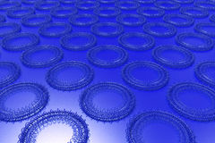 Pattern of concentric shapes made of rings and spirals on blue b. Ackground. Abstract geometric background with grid of concentric elements. 3D rendering vector illustration