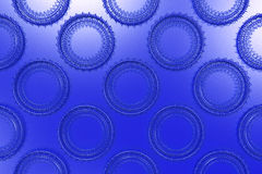 Pattern of concentric shapes made of rings and spirals on blue b. Ackground. Abstract geometric background with grid of concentric elements. 3D rendering stock illustration