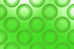 Pattern of concentric shapes made of rings and spirals on green. Background. Abstract geometric background with grid of concentric elements. 3D rendering vector illustration