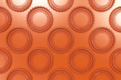 Pattern of concentric shapes made of rings and spirals on orange. Background. Abstract geometric background with grid of concentric elements. 3D rendering Royalty Free Stock Photography