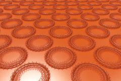 Pattern of concentric shapes made of rings and spirals on orange. Background. Abstract geometric background with grid of concentric elements. 3D rendering royalty free illustration