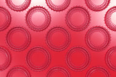 Pattern of concentric shapes made of rings and spirals on red ba. Ckground. Abstract geometric background with grid of concentric elements. 3D rendering Royalty Free Stock Photography