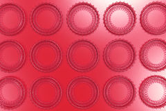 Pattern of concentric shapes made of rings and spirals on red ba. Ckground. Abstract geometric background with grid of concentric elements. 3D rendering royalty free illustration