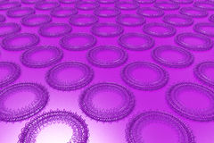 Pattern of concentric shapes made of rings and spirals on violet. Background. Abstract geometric background with grid of concentric elements. 3D rendering vector illustration