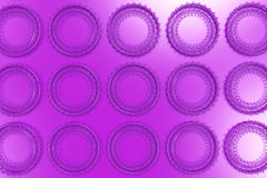Pattern of concentric shapes made of rings and spirals on violet. Background. Abstract geometric background with grid of concentric elements. 3D rendering Royalty Free Stock Photos